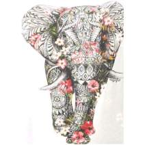 MXJSUA DIY 5D Diamond Painting Full Round Drill Kits Rhinestone Picture Art Craft for Home Wall Decor 12x16In Elephant Wearing Flowers