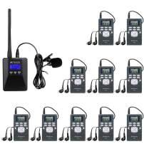 Retekess TR506 Portable Mini Transmitter Low Power Transmitter Church Translation System and 10 PR13 Mini Radio Receivers Support Microphone AUX Input