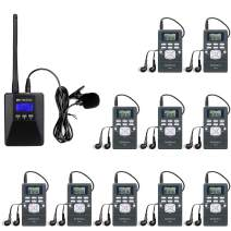 Retekess TR506 Portable Mini Transmitter Low Power Transmitter Church Translation System and 10 PR13 Mini Radio Receivers Support Microphone AUX Input