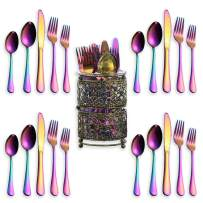 Berglander Stainless Steel Flatware Set 20 Piece With Titanium Colorful Plated, Color Silverware Set, Rainbow Silverware Set Pack With A Metal Classic Golden Holder, Service For 4 (Shiny, Rainbow)