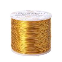 BENECREAT 20 Gauge 770FT Aluminum Wire Anodized Jewelry Craft Making Beading Floral Colored Aluminum Craft Wire - Light Gold