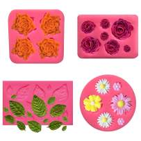 ALLADINBOX Flower Fondant Cake Molds-4 Pcs-Daisy Flower,Rose Flower, Leaf and Small Flower,Candy Silicone Molds Set for Chocolate,Fondant,Polymer Clay,Soap,Crafting Projects & Cake Decoration