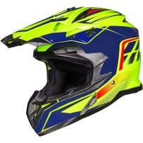 ILM Adult ATV Motocross Off-Road Street Dirt Bike Full Face Motorcycle Helmet DOT Approved MX MTV Suits Men Women (S, Yellow Blue)