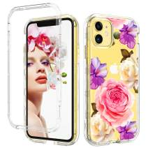 iPhone 11 Pro Max Case 2019 Flower Floral Transparent 3 in 1 Shockproof Drop Protection Heavy Duty Hybrid Hard PC Cover TPU Bumper Full Body Protective Case for iPhone 11 Pro Max 6.5-Inch,Clear