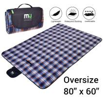 MIU COLOR Foldable Picnic Blanket Soft Plush Fleece Extra Large 80″ x 60″ Waterproof Picnic Mat Ground Cover - Multipurpose Indoor & Outdoor Blanket for Hiking, Camping, Festival, Park, Baby, Pet
