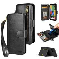 PAMANO Google Pixel 4XL Wallet Case (2019, 6.3-inch), Zipper Pocket Strap DIY Crossbody Detachable Kickstand, [Leather Folio] Purse Protective Magic Sticker with Card Holder -Black