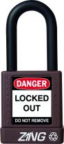 """ZING 7044 RecycLock Safety Padlock, Keyed Different, 1-1/2"""" Shackle, 1-3/4"""" Body, Brown"""