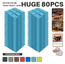 """Acepunch 80 Pack Baby Blue Bevel Grid Acoustic Foam Panel DIY Design Studio Soundproofing Wall Tiles Sound Insulation with Free Mounting Tabs 19.6"""" x 19.6"""" x 1.9"""" AP1046"""