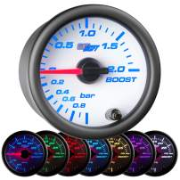 "GlowShift White 7 Color 2.0 BAR Boost/Vacuum Gauge Kit - Includes Mechanical Hose & Fittings - White Dial - Clear Lens - for Car & Truck - 2-1/16"" 52mm"