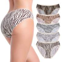 MISSWHO Women's 5-Pack Seamless Bonded Stretch Hipster Panty