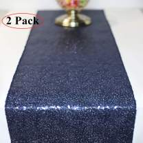 FancyGift 2pcs 11.5 x 108-inch Glitter Dark Blue Sequin Table Runner for Wedding Birthday Party Home Festival Baby Shower Decorations Celebrations and Events