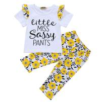 3Pcs Newborn Baby Girls Boys Romper Sunflowers Print Outfit Set Boys Girls Long Sleeve Bodysuit Clothes Set