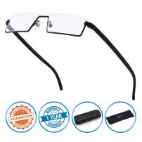 CGID Half Rim Anti-Blue Light Readers, Computer Reading Glasses with TR90 Frame for Men and Women,XBK001