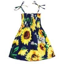 GRNSHTS Baby Girls Flower Print Buttons Ruffles Dress with Headband