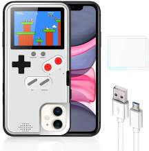 Bangting Handheld Game Console Phone case with 2 Game Screen Protector - Retro 3D Phone Protective case with 36 Classic Game - Video Game Phone Case Compatible with iPhone (White, iPhone 11Pro)