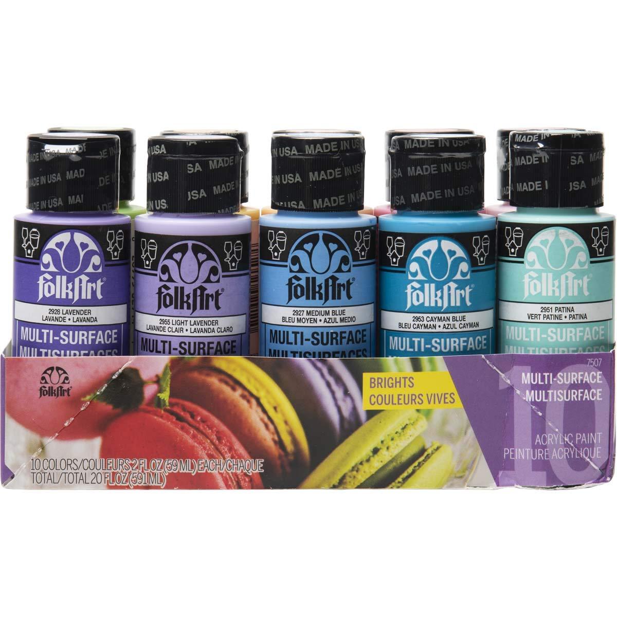 FolkArt 7507 Color, 10 Bottle Multi-Surface Acrylic Paint Set, 2oz, Brights