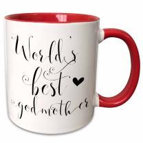 3dRose Ever-Worlds Best Gift For Godmother Ceramic Mug, 11 oz, Red/White