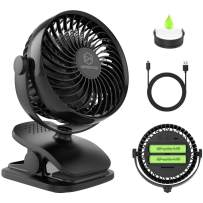 Battery Operated Clip on Fan, Baby Stroller Fan (5200mAh), Rechargeable Battery or USB Powered Desk Fan, 4 Speed Portable Personal Fan for Baby Stroller, Treadmill, Golf Cart, Travel, Office and Outdoor Activity
