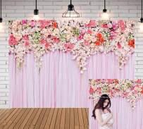 Qian 5x3ft Pink Flower Photography Background for Wedding Bride Shower Baby Shower Newborn Rose Photo Backdrops Studio Props Birthday Wedding Decoration Vinyl