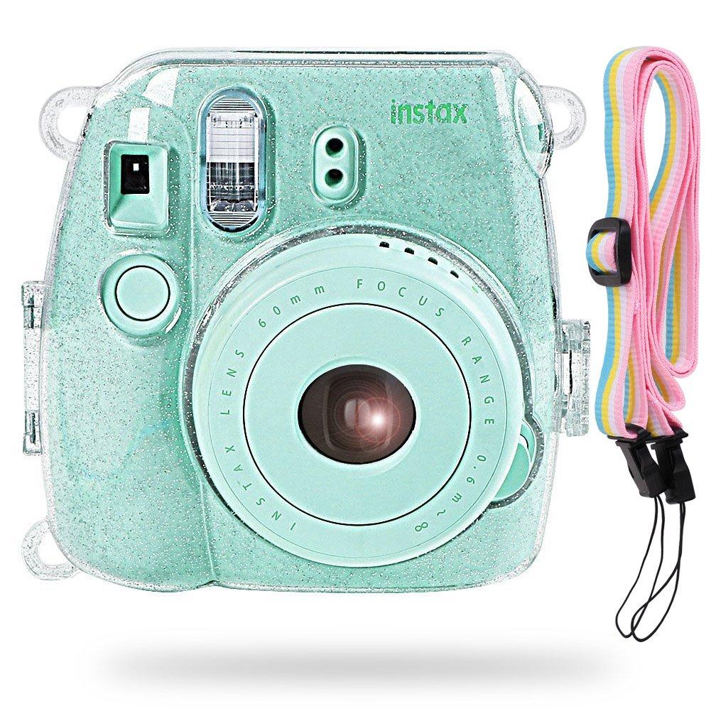 Katia Camera Case Bag Compatible for Fujifilm Instax Mini 9 Instant Camera, Also Compatible for Fujifilm Instax Mini 8 Instant Film Camera with Strap - Shining Transparent
