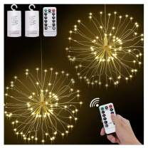 2 Pack Starburst Lights Fireworks Copper Decorative String Lights, 8 Modes Dimmable Fairy Lights with Remote Control, Bouquet Hanging Lights for Party, Home, Outdoor Decor(120 LED, Battery)