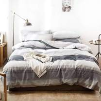 NANKO Twin Duvet Cover Set Gray Mint Green Striped Pattern Printed 2pc 68x90 Luxury Microfiber Down Comforter Quilt Bedding Cover with Zipper Closure Ties - Modern for Men and Women Chambray