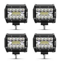 LED Pods Light Bar SAFEGO 4Pcs 4inch 60W 6000Lm Spot Beam Driving Lights Fog Off Road Lights Triple Row Waterproof LED Work Lights for Trunk Jeep ATV UTV SUV Boat 12V/24V