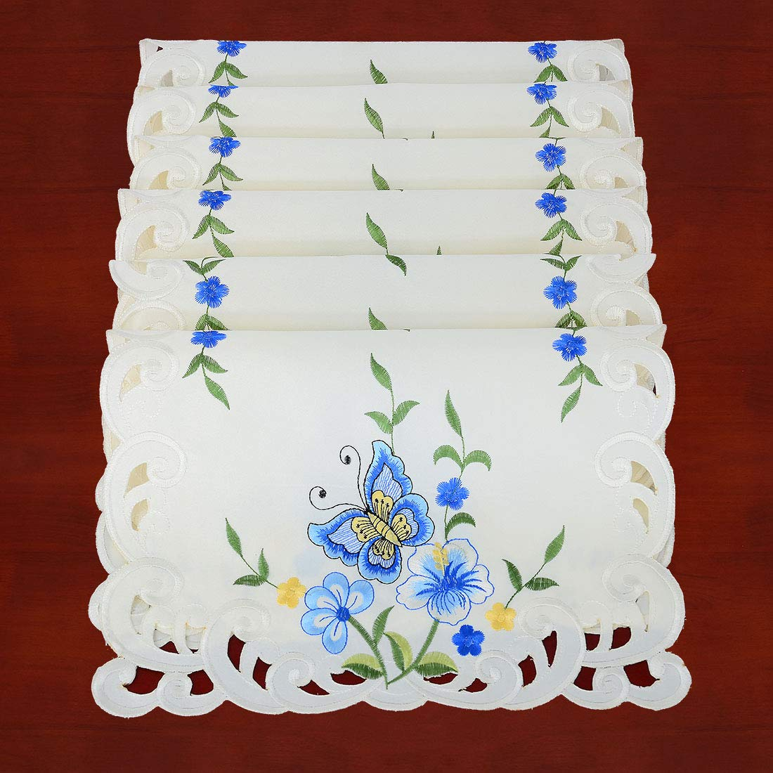 Simhomsen Decorative Butterfly and Floral Table Place Mats (Blue, 13 × 19 Inch Set of 6)