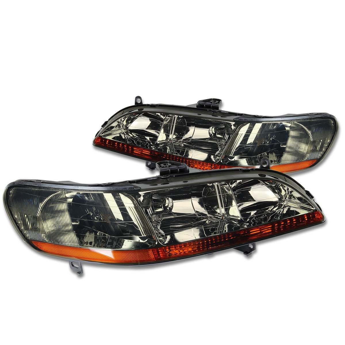 DNA MOTORING HL-OH-HA98-SM-AB Headlight Assembly, Driver and Passenger Side,Smoked amber