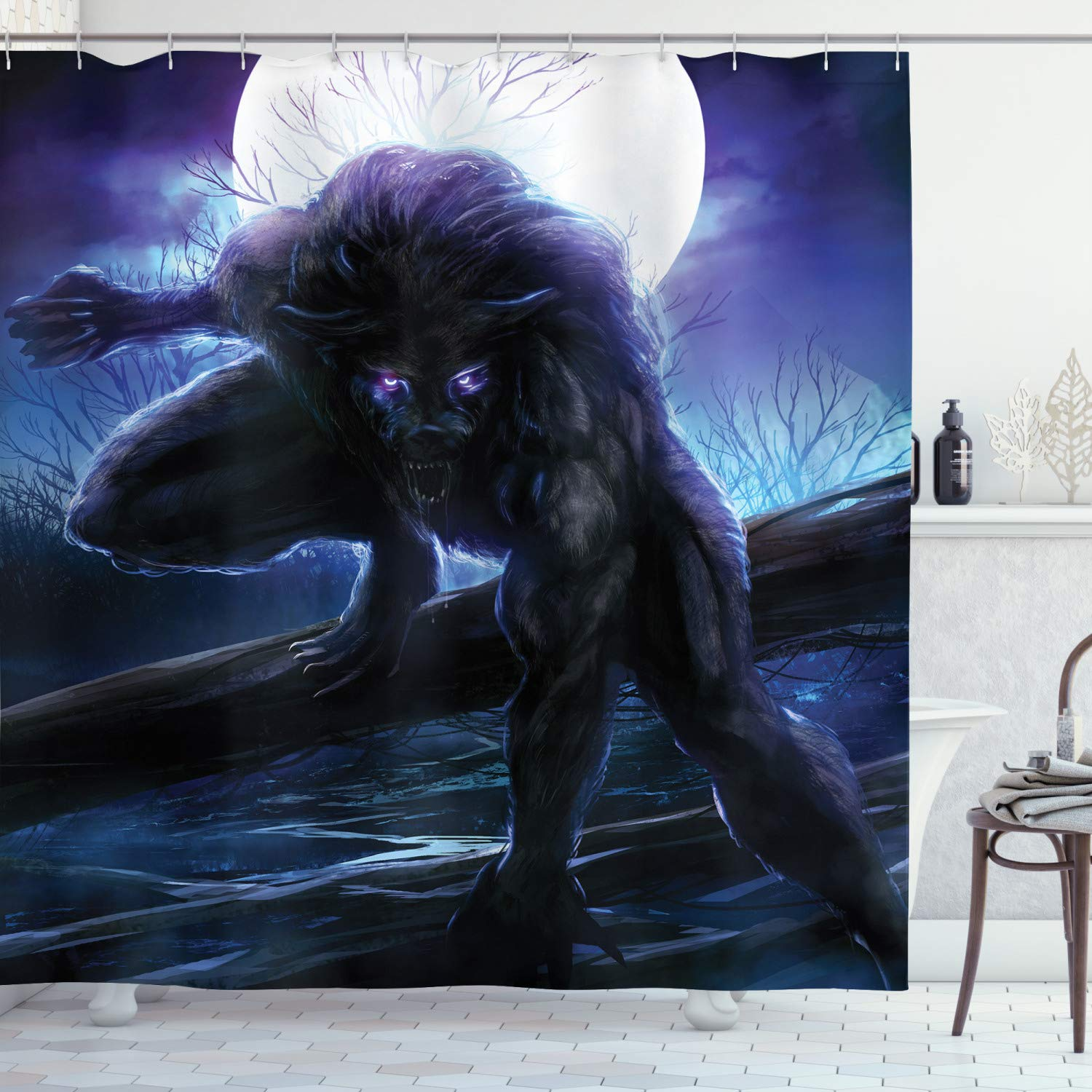 """Ambesonne Fantasy World Shower Curtain, Surreal Werewolf with Electric Eyes in Full Moon Transformation Folkloric, Cloth Fabric Bathroom Decor Set with Hooks, 75"""" Long, Purple Blue"""