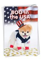 Boo In The USA - Dog Happy Birthday Card with Envelope (4.63 x 6.75 Inch) - Cute Pet Dog, Stationery Bday Card for Kids, Adults - Puppy and American Flag Themed, Note Card for Birthdays 6867BDG