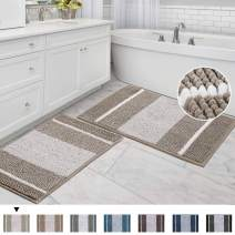 """Non Slip Shaggy Striped Chenille Soft Microfibers Bathroom Rug with Water Absorbent, Ultra Soft Washable Bedroom Area Rugs Machine Washable, 2 Pack, 20"""" x 32""""/17"""" x 24"""", Gradient Taupe"""
