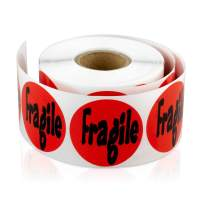 """TUCO DEALS - 1.5"""" Round Fragile Self Adhesive Warning Shipping Labels/Stickers (300 Labels Per Roll/Red)"""