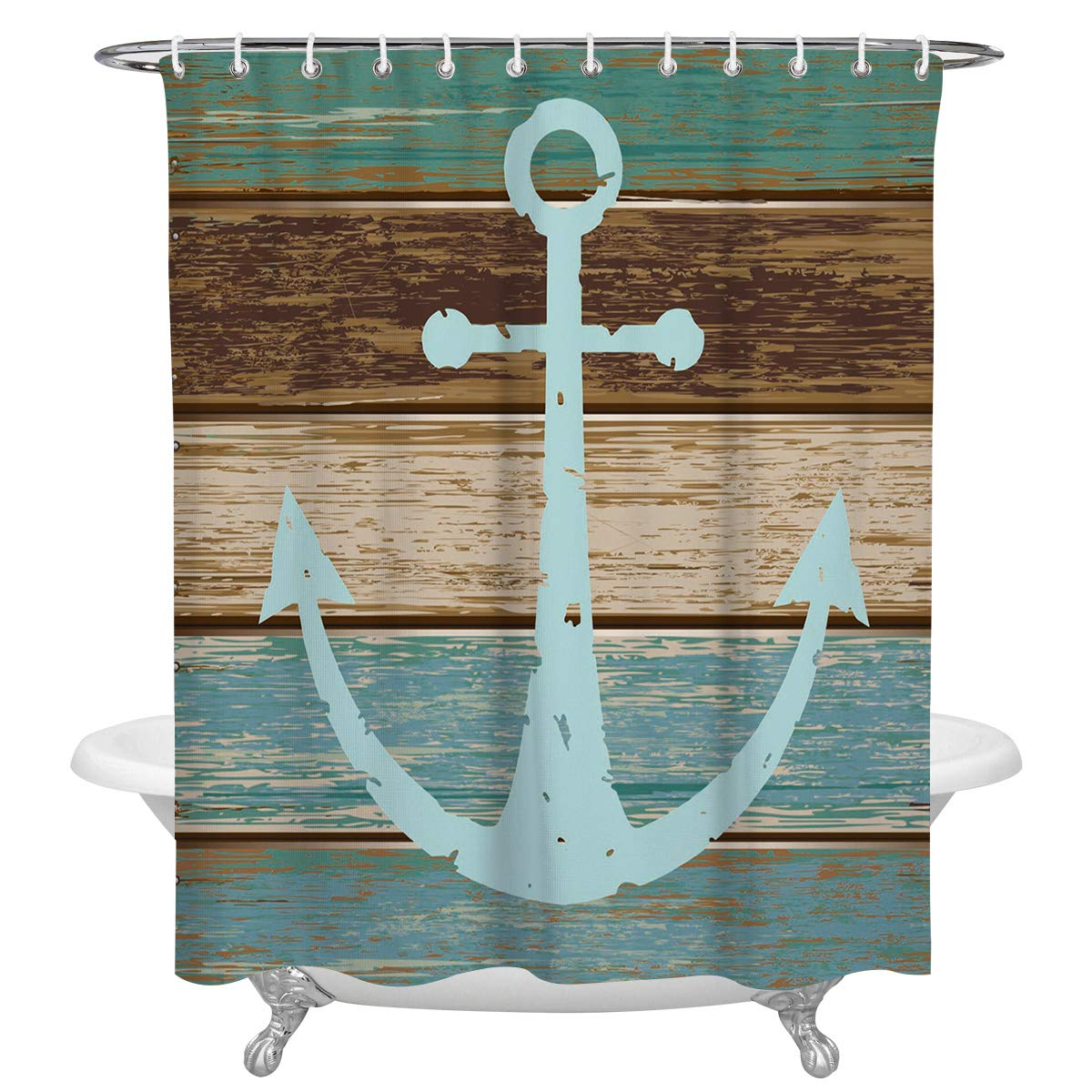 FAMILYDECOR Anchor Decor Polyester Fabric Shower Curtains for Bathroom, Nautical Theme Blue Anchor on Vintage Wooden Planks Waterproof Bath Curtain with Hooks, 72x78 Inch, White and Gray