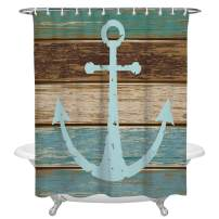 Anchor Decor Polyester Fabric Shower Curtains for Bathroom, Nautical Theme Blue Anchor on Vintage Wooden Planks Waterproof Bath Curtain with Hooks, 72x72 Inch Standard Size, White and Gray