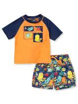 KIKO & MAX Boys' Swimsuit Set with Rashguard Swim Shirt & Trunks