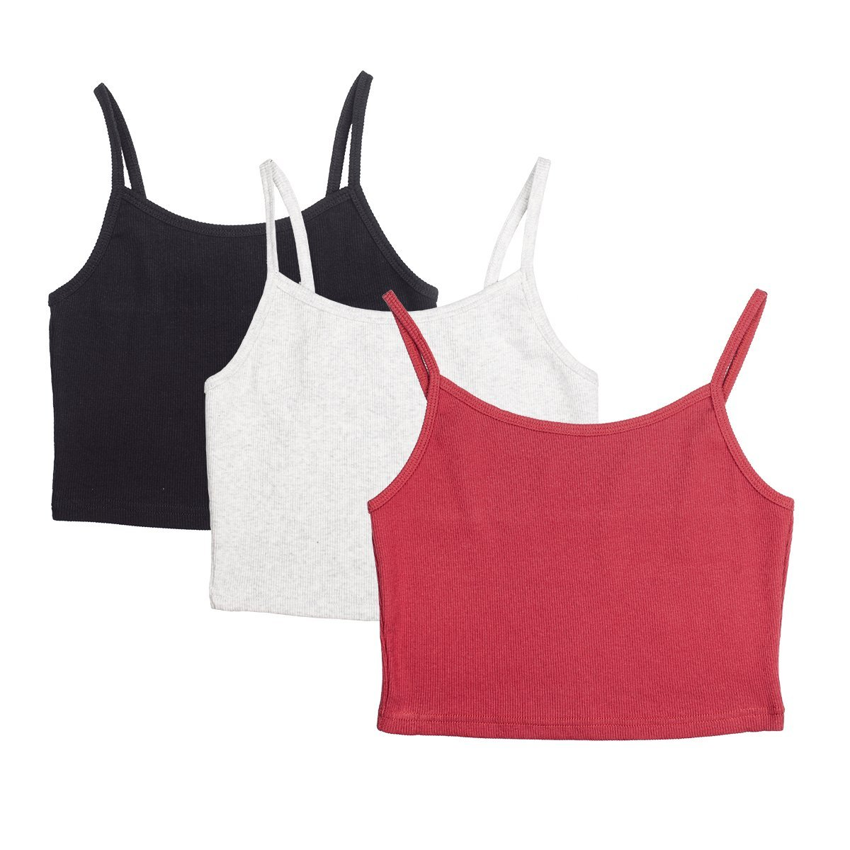 icyzone Undershirts Tank Tops for Women - Spaghetti Strap Cotton Crop Top Cami(Pack of 3)