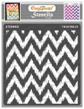 CrafTreat Chevron Stencils for Painting on Wood, Canvas, Paper, Fabric, Floor, Wall and Tile - Ikat Chevron - 6x6 Inches - Reusable DIY Art and Craft Stencils - Small Chevron Stencil