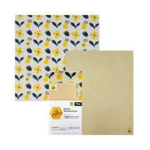 NIL beeswax wraps - 2 pack large sizes organic food wraps eco friendly reusable food wraps (Yellow Flower)