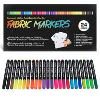 Fabric Markers Permanent for T Shirts Baby Onesies Bibs White Pillow Tote Canvas Bags Clothing - No Bleed - Fine Tip - Child Safe & Non Toxic. JR.WHITE Fabric Paint Pens Set of 24 Colors