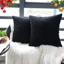 """Set of 2,Decorative Throw Pillow Covers 18"""" x 18"""" (No Insert),Solid Cozy Corduroy Corn Stripe Square Pillow Case Cover Shams,Soft Velvet Cushion Covers with Hidden Zipper for Couch/Sofa/Bedroom,Black"""