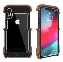 HikerClub Wood Case for iPhone XR Case Stylish Real Wooden Bumper Luxury Metal Frame Armor Defender Edge Shockproof Case (iPhone XR 6.1inch)