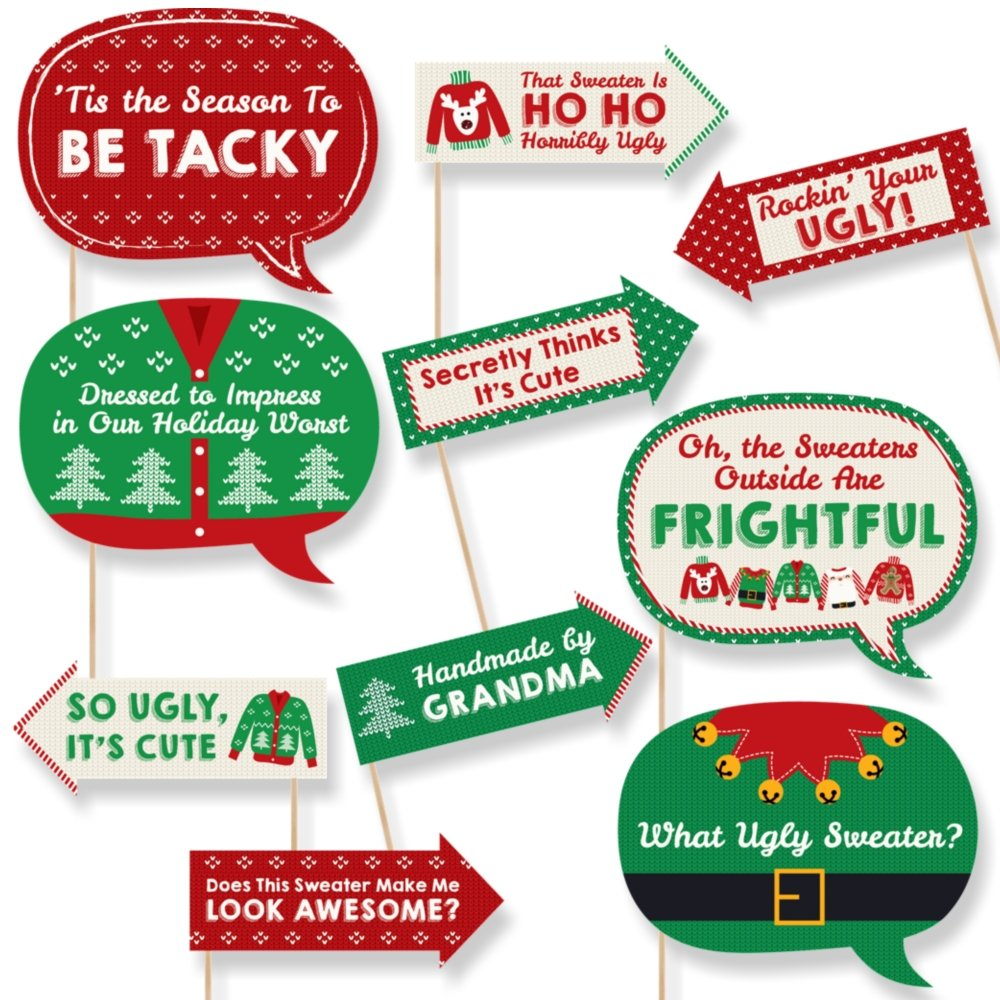 Big Dot of Happiness Funny Ugly Sweater Holiday - Christmas Party Photo Booth Props Kit - 10 Piece