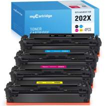 MYCARTRIDGE Compatible Toner Cartridge Replacement for HP 202X CF500X 202A CF500A M281fdw M254dw fit with M281cdw M254dn M254nw M281 M254(1 Black, 1 Cyan, 1 Magenta, 1 Yellow) 4-Pack