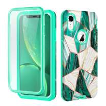 Hekodonk Compatible iPhone XR Case Built in Screen Protector Heavy Duty High Impact PC TPU Bumper Full Body Protective Shockproof Anti-Scratch Cover for Apple iPhone XR 6.1 Inch 2018-Marble Green