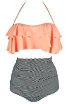 Little Hand Womens Retro Boho Flounce Thin Shoulder Straps High Waist Bikini Set Chic Swimsuit
