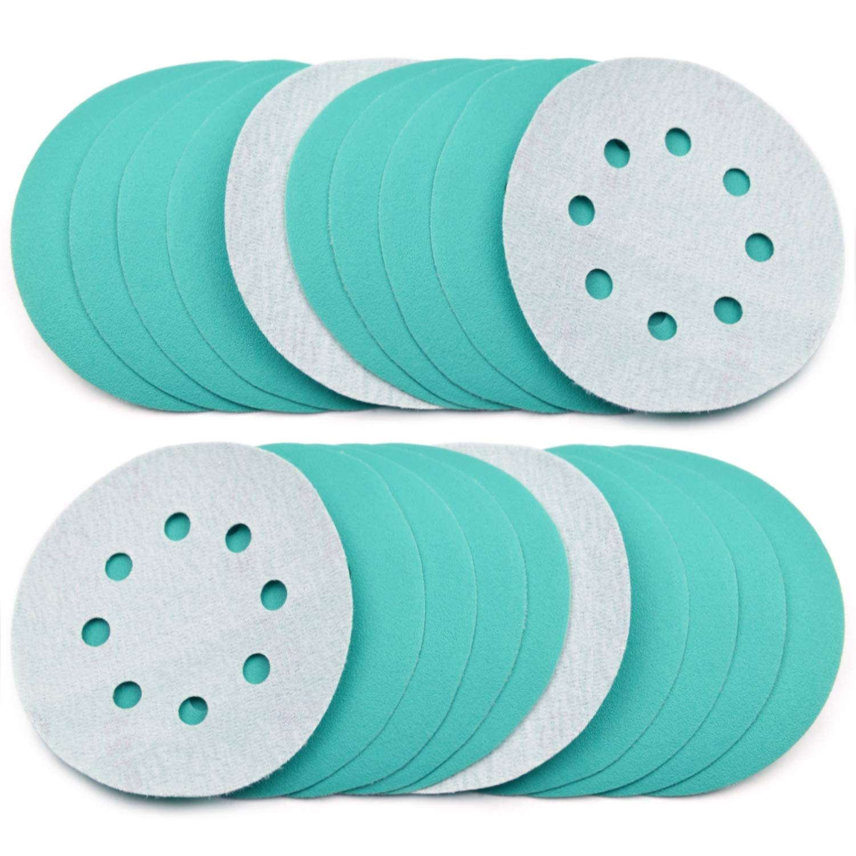POLIWELL 5 Inch Sanding Discs 8 Holes 120 Grit Wet Dry Film-Backed Green Line Hook and Loop Dustless Power Random Orbital Sander Paper, for Car Paint Wood or Metal Grinding and Polishing, 20 Pack