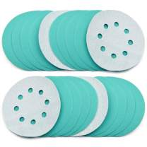 POLIWELL 5 Inch Sanding Discs 8 Holes 120 Grit Wet Dry Film-Backed Green Line Hook and Loop Dustless Power Random Orbital Sander Paper, for Car Paint Wood or Metal Grinding and Polishing, 20 Pack