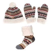 Adult Women's Super Soft Warm Fuzzy Cozy Winter Socks, Beanie Pom Pom Hat and Mittens Set - 1 Set