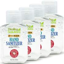Hand Sanitizer Gel (4 Pack - 2oz Bottle) - 75% Alcohol - Kills 99.99% of Germs - Scent Free Antibacterial Gel with Vitamin E & Aloe for Moisturizing in Mini 2 Ounce Bottles